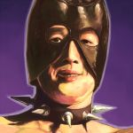 1boy bare_chest black_neckwear collar cropped_torso gachimuchi grin leather_mask looking_at_viewer male_focus matsutani outline portrait purple_background purple_outline realistic serious shadow simple_background smile solo spiked_collar spikes uneven_eyes van_darkholme