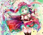 1girl adapted_costume alternate_costume ayane_yui bare_shoulders blush boots bow breasts commentary cowboy_shot dress frills front_ponytail green_eyes green_hair hair_between_breasts hair_bow hair_ribbon highres kagiyama_hina large_breasts long_hair looking_at_viewer open_mouth red_bow red_dress red_ribbon ribbon skirt skirt_lift smile solo spinning thigh-highs thigh_boots thighs touhou twitter_username
