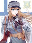 1girl binoculars blonde_hair blue_eyes coat_of_arms earmuffs finnish_flag finnish_text girls_frontline gloves gun hat highres load_bearing_equipment long_hair military military_hat military_uniform solo submachine_gun suomi_kp/-31 suomi_kp31_(girls_frontline) testame uniform weapon