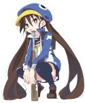 1girl baseball_bat blue_hat brown_eyes brown_hair disgaea hat ixy jacket kazamatsuri_fuuka long_hair makai_senki_disgaea_4 school_uniform skirt solo twintails