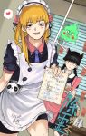 1other 2boys alternate_costume animal_ears apron bangs black_eyes blinds blonde_hair blue_neckwear blunt_bangs blush crossdressing disgust dutch_angle ekubo_(mob_psycho_100) enmaided flower hair_flower hair_ornament heart highres holding holding_tray indoors kageyama_shigeo leg_hair looking_at_viewer maid misugozi mob_psycho_100 multiple_boys necktie ofuda reigen_arataka school_uniform serafuku spoken_heart standing tray twintails waitress
