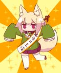 1girl animal_ear_fluff animal_ears bangs bell bell_collar blonde_hair blush brown_collar brown_footwear collar eyebrows_visible_through_hair fox_ears fox_girl fox_tail green_shirt hair_between_eyes hair_bun hair_ornament highres jingle_bell kemomimi-chan_(naga_u) long_sleeves naga_u orange_background original outstretched_arms pleated_skirt purple_skirt red_eyes ribbon-trimmed_legwear ribbon_trim sash shirt sidelocks skirt sleeves_past_fingers sleeves_past_wrists solo sparkle standing standing_on_one_leg tail thigh-highs translation_request two-tone_background v-shaped_eyebrows white_legwear yellow_background