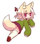 1girl animal_ear_fluff animal_ears bangs bell bell_collar blonde_hair blush brown_collar brown_footwear closed_mouth collar eyebrows_visible_through_hair fox_ears fox_girl fox_tail full_body green_shirt hair_between_eyes hair_bun hair_ornament jingle_bell kemomimi-chan_(naga_u) long_hair long_sleeves looking_at_viewer looking_back naga_u original pleated_skirt purple_skirt red_eyes ribbon-trimmed_legwear ribbon_trim sailor_collar shirt shoe_soles sidelocks simple_background skirt sleeves_past_fingers sleeves_past_wrists solo tail thigh-highs white_background white_legwear white_sailor_collar