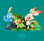 artist_name berries burp creatures_(company) eating full_body game_freak gen_8_pokemon grass grookey lizard maru_(marugraphic) monkey nintendo no_humans open_mouth pokemon pokemon_(creature) pokemon_(game) pokemon_swsh rabbit scorbunny smile sobble