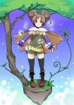 1girl alchemist_(ragnarok_online) bangs black_eyes black_legwear blue_gloves blush boots brown_cape brown_dress brown_footwear brown_hair cape closed_mouth commentary_request cross-laced_footwear dress elbow_gloves fingerless_gloves floating_island full_body fur_collar gloves horns leaf looking_at_viewer outstretched_arms ragnarok_online sasai_saki short_dress short_hair smile solo standing strapless strapless_dress thigh-highs tree