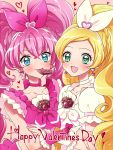 2girls :d blonde_hair blue_eyes blush bow braid chocolate chocolate_heart choker cure_melody cure_rhythm earrings frills green_eyes hair_bow hair_ornament happy_valentine heart heart_earrings heart_hair_ornament houjou_hibiki jewelry kagami_chihiro long_hair looking_at_viewer magical_girl minamino_kanade mouth_hold multiple_girls open_mouth pink_bow pink_hair pink_neckwear precure puffy_sleeves ribbon_choker smile suite_precure twintails upper_body valentine white_bow white_neckwear wrist_cuffs