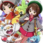 1boy 1girl backpack bag blush_stickers brown_hair closed_eyes commentary_request creatures_(company) female_protagonist_(pokemon_swsh) game_freak gen_1_pokemon gen_8_pokemon green_hat grey_cardigan grey_hat grookey hat highres hooded_cardigan kingin long_sleeves male_protagonist_(pokemon_swsh) nintendo one_eye_closed open_mouth pikachu pink_shirt poke_ball poke_ball_(generic) pokemon pokemon_(creature) pokemon_(game) pokemon_swsh red_shirt scorbunny shirt short_hair smile sobble tam_o'_shanter yellow_eyes