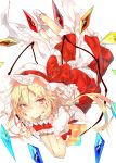 1girl blonde_hair bow chin_rest commentary_request crystal flandre_scarlet full_body grin hands_up hat hat_bow highres long_hair looking_at_viewer lying mob_cap on_stomach one_side_up petticoat puffy_short_sleeves puffy_sleeves red_bow red_eyes red_skirt red_vest sakusyo shirt short_sleeves simple_background skirt skirt_set smile socks solo touhou vest white_background white_hat white_legwear white_shirt wings wrist_cuffs