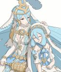 2girls aqua_(fire_emblem_if) blue_hair breasts closed_eyes dual_persona elbow_gloves feathers fingerless_gloves fire_emblem fire_emblem_heroes fire_emblem_if gloves gonzarez hair_between_eyes hair_ornament hand_on_another's_head holding_scepter intelligent_systems jewelry long_hair medium_breasts multiple_girls nintendo parted_lips pendant scepter simple_background sleeping veil white_background white_gloves yellow_eyes younger