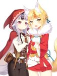 2girls animal_ears belt black_hair blonde_hair brown_gloves brown_hair cloak fang fingerless_gloves fire_emblem fire_emblem_if fox_ears fox_tail fur_trim gloves grey_hair hair_ornament hand_holding highres hood hood_up hooded_cloak japanese_clothes kinu_(fire_emblem_if) long_sleeves multicolored_hair multiple_girls nintendo open_mouth parted_lips pouch red_eyes shira_yu_ki short_hair simple_background streaked_hair tail velour_(fire_emblem_if) white_background white_gloves wolf_ears wolf_tail yellow_eyes