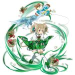1girl animal_ears aqua_ribbon blush boots brown_hair cat_ears cat_tail embarrassed frilled_legwear full_body green_sleeves hair_between_eyes hair_ornament hair_ribbon highres long_hair long_sleeves miniskirt official_art open_mouth pina_(sao) red_eyes ribbon silica_(sao-alo) skirt skirt_tug solo sword_art_online tail thigh-highs transparent_background twintails wavy_mouth white_legwear white_skirt wide_sleeves