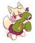 1girl animal_ear_fluff animal_ears bangs blonde_hair blush brown_footwear closed_mouth eyebrows_visible_through_hair fox_ears fox_girl fox_tail full_body green_shirt hair_between_eyes hair_bun hair_ornament kemomimi-chan_(naga_u) kneeling long_sleeves naga_u orange_neckwear original pleated_skirt purple_skirt red_eyes ribbon-trimmed_legwear ribbon_trim shirt skirt sleeves_past_fingers sleeves_past_wrists solo tail thigh-highs white_background white_legwear