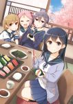 >_< 4girls :d ahoge akebono_(kantai_collection) bandaid bandaid_on_face bangs bell black_hair black_legwear blue_sailor_collar blue_shirt blue_skirt blush breasts brown_hair buttons chopsticks closed_mouth collarbone commentary_request cup drink eating eyebrows_visible_through_hair flower food hair_bell hair_between_eyes hair_bobbles hair_flower hair_ornament highres holding indoors jacket jingle_bell kantai_collection large_breasts leaf long_hair long_sleeves looking_at_viewer multiple_girls neck_ribbon oboro_(kantai_collection) open_mouth pink_hair pleated_skirt purple_hair ribbon rice sailor_collar sazanami_(kantai_collection) school_uniform seiza serafuku shirt short_hair short_sleeves side_ponytail sitting skirt smile socks soy_sauce tatami tree twintails ushio_(kantai_collection) v vegetable violet_eyes window xd yume_no_owari