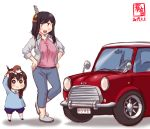 2girls :3 alternate_costume animal animal_on_head artist_logo black_hair blue_eyes bow braid brown_hair car child dated dog dog_on_head ground_vehicle hair_bow highres kanon_(kurogane_knights) kantai_collection long_hair mini_cooper motor_vehicle multiple_girls on_head open_mouth red_bow red_eyes shigure_(kantai_collection) short_hair side_braid single_braid smile sparkle sparkling_eyes symbol-shaped_pupils white_background yamashiro_(kantai_collection) younger