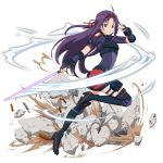 1girl ahoge beam_saber black_footwear boots elbow_gloves fingerless_gloves floating_hair from_side full_body gloves hair_ribbon highres holding holding_sword holding_weapon leg_up long_hair looking_at_viewer official_art purple_gloves purple_hair purple_shirt red_eyes red_ribbon red_shorts ribbon shirt short_shorts short_sleeves shorts shoulder_cutout smile solo sword sword_art_online thigh-highs thigh_boots transparent_background very_long_hair weapon yuuki_(sao)