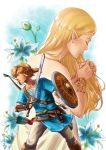 1boy 1girl absurdres armlet arrow blonde_hair blue_eyes blue_tunic bow_(weapon) bracer brown_footwear closed_eyes dress fingerless_gloves flower gloves hands_together highres holding holding_shield holding_sword holding_weapon jewelry link long_hair necklace nintendo pants pointy_ears ponytail princess_zelda quiver sheikah_slate shield standing sword the_legend_of_zelda the_legend_of_zelda:_breath_of_the_wild very_long_hair weapon white_dress yzderia