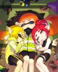 3girls :o agent_8 amatcha bare_shoulders bike_shorts black_cape black_skirt blonde_hair blue_eyes cape cellphone closed_eyes closed_mouth domino_mask eyes_visible_through_hair headgear hero_shot_(splatoon) inkling long_hair long_sleeves looking_at_viewer lying mask miniskirt multiple_girls octarian octoling on_back on_side one_eye_closed open_mouth orange_hair phone pointy_ears ponytail redhead short_hair single_vertical_stripe skirt sleeping smartphone smartphone_case smile splatoon splatoon_(series) splatoon_2 splatoon_2:_octo_expansion squidbeak_splatoon suction_cups tentacle_hair thigh_strap torn_cape torn_clothes vest waking_up
