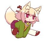 1girl animal_ear_fluff animal_ears bangs bell bell_collar blonde_hair blush brown_collar brown_footwear chestnut_mouth collar eyebrows_visible_through_hair fox_ears fox_girl fox_tail full_body green_shirt hair_between_eyes hair_bun hair_ornament jingle_bell kemomimi-chan_(naga_u) long_hair long_sleeves naga_u orange_neckwear original parted_lips pleated_skirt purple_skirt red_eyes ribbon-trimmed_legwear ribbon_trim sailor_collar shirt shoe_soles sidelocks simple_background skirt sleeves_past_wrists solo tail thigh-highs v-shaped_eyebrows white_background white_legwear white_sailor_collar
