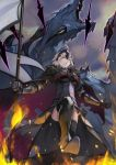 1girl 55level ahoge armor armored_dress bangs banner black_capelet black_dress black_legwear breasts capelet chains dragon dress fate/grand_order fate_(series) flag fur_collar gauntlets headpiece highres holding holding_flag jeanne_d'arc_(alter)_(fate) jeanne_d'arc_(fate)_(all) short_hair smile solo thigh-highs yellow_eyes