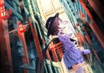 1girl arawara brown_eyes brown_hair cape cape_removed city cityscape eyewear_removed glasses hat highres lantern low_twintails over-kneehighs puffy_sleeves school_uniform skirt smile thigh-highs torii touhou twintails usami_sumireko