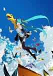 1girl agumon aqua_eyes aqua_hair aqua_neckwear artist_name bandai bare_shoulders belt blue_sky breasts bug butterfly claws clouds cloudy_sky commentary company_name crescent_moon crossover detached_sleeves digimon digimon_adventure_tri. digivice fangs female flying full_body green_eyes hair_ornament hatsune_miku headset highres holding insect island long_hair looking_back moon necktie ocean official_art sharp_teeth shiny shirt shoulder_tattoo skirt sky sleeveless sleeveless_shirt smile star_(sky) starry_sky tattoo teeth thigh-highs twintails uki_atsuya very_long_hair vocaloid