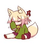 1girl animal_ear_fluff animal_ears bangs bell bell_collar blonde_hair blush brown_footwear closed_eyes closed_mouth collar eyebrows_visible_through_hair fox_ears fox_girl fox_tail full_body green_shirt hair_between_eyes hair_bun hair_ornament hand_up jingle_bell kemomimi-chan_(naga_u) long_hair long_sleeves naga_u original pleated_skirt purple_skirt ribbon-trimmed_legwear ribbon_trim rubbing_eyes sailor_collar shadow shirt shoe_soles sitting skirt sleeves_past_fingers sleeves_past_wrists solo tail thigh-highs white_background white_legwear white_sailor_collar