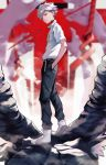 1boy 55level collar full_body grey_hair hair_between_eyes hands_in_pockets highres lance_of_longinus looking_at_viewer male_focus nagisa_kaworu neon_genesis_evangelion rebuild_of_evangelion red_eyes solo