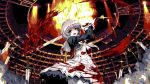 1girl :d blood blood_stain bloody_clothes brown_eyes dress glint grey_hair indoors long_sleeves looking_at_viewer motion_blur open_mouth original pantyhose pixel_art planted_sword planted_weapon r5r6ty school_uniform serafuku short_hair smile solo standing sword weapon white_dress white_legwear
