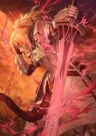 1girl armor blonde_hair blood blood_from_mouth blood_on_face braid clarent commentary damaged fate/apocrypha fate_(series) french_braid full_armor gauntlets green_eyes grin hair_ornament hair_scrunchie hand_on_own_head highres holding holding_sword holding_weapon lightning mashu_003 mordred_(fate) mordred_(fate)_(all) planted_sword planted_weapon ponytail red_scrunchie scrunchie signature smile solo sword twitter_username weapon