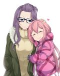 2girls ^_^ bangs bangs_pinned_back black-framed_eyewear blush c: closed_eyes closed_eyes closed_mouth forehead glasses hair_between_eyes hand_in_pocket heart jacket kagamihara_nadeshiko kagamihara_sakura kasai_shin multiple_girls petting pink_hair purple_hair ribbed_sweater siblings sidelocks simple_background sisters smile sweater turtleneck turtleneck_sweater white_background yurucamp