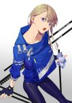 1girl :o bangs blonde_hair blue_eyes blue_jacket collarbone cowboy_shot dated drink drink_pouch fingerless_gloves gloves gradient gradient_background grey_background head_tilt jacket leggings long_hair looking_at_viewer open_mouth original pants purple_pants solo tight tight_pants yamakawa