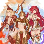 3girls armor armored_boots athena_(granblue_fantasy) bare_shoulders blonde_hair blue_eyes boots braid breasts brown_eyes cape cleavage collarbone commentary_request dated djeeta_(granblue_fantasy) drawing_sword fire gauntlets godguard_brodia granblue_fantasy hair_between_eyes hair_ornament helmet highres large_breasts long_hair looking_at_viewer medium_breasts multiple_girls n9+ navel pelvic_curtain polearm redhead sheath signature skirt sparta_(granblue_fantasy) spear thigh-highs twin_braids twitter_username under_boob very_long_hair violet_eyes weapon