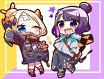 2girls ;d abigail_williams_(fate/grand_order) absurdres bag bangs black_bow black_footwear black_jacket black_pants blonde_hair blue_eyes blush bow chibi commentary_request crossed_bandaids fate/grand_order fate_(series) grey_jacket hair_bow hair_bun hair_ornament hands_in_pockets highres hood hood_down hooded_jacket jacket jako_(jakoo21) katsushika_hokusai_(fate/grand_order) long_sleeves multiple_girls object_hug one_eye_closed open_mouth orange_bow outstretched_arm pants parted_bangs polka_dot polka_dot_bow purple_hair red_footwear shoes shoulder_bag sleeves_past_fingers sleeves_past_wrists smile standing standing_on_one_leg star stuffed_animal stuffed_toy teddy_bear violet_eyes zipper_pull_tab