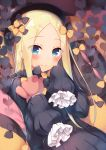 1girl abigail_williams_(fate/grand_order) bangs black_bow black_dress black_hat black_pillow blonde_hair blue_eyes blush bow closed_mouth dress eyebrows_visible_through_hair fate_(series) frilled_sleeves frills hair_bow hat holding holding_stuffed_animal long_hair long_sleeves looking_at_viewer orange_bow orange_pillow parted_bangs pillow polka_dot polka_dot_bow polka_dot_pillow sazaki_ichiri sleeves_past_fingers sleeves_past_wrists smile solo stuffed_animal stuffed_toy teddy_bear very_long_hair