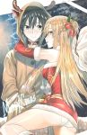 1boy 1girl animal_costume animal_ears animal_hood antlers ass asuna_(sao) black_hair blonde_hair boots braid brown_coat brown_eyes chains choker coat crown_braid detached_sleeves dress fake_animal_ears fake_horns fur-trimmed_dress fur-trimmed_sleeves fur_boots fur_trim hair_ribbon hand_in_pocket hood hood_up hooded_coat kirito long_hair long_sleeves looking_at_viewer looking_back lying merry_christmas mouth_hold on_side panties red_dress red_ribbon red_sleeves reindeer_antlers reindeer_costume reindeer_ears reindeer_hood ribbon riko201008 santa_costume shiny shiny_hair short_dress sleeveless sleeveless_dress smile sword_art_online underwear very_long_hair white_panties