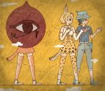 3girls animal_ears arms_up bag black_shirt blonde_hair blue_footwear blue_vest bow bowtie capri_pants caracal_(kemono_friends) caracal_tail cerulean_(kemono_friends) cerulean_costume commentary_request crack egyptian_art elbow_gloves expressionless eye_of_horus gloves grey_pants hat hat_feather highres kemono_friends kita_(7kita) kyururu_(kemono_friends) looking_to_the_side multicolored_hair multiple_girls pants pink_legwear pink_skirt satchel serval_(kemono_friends) serval_ears serval_print serval_tail shirt short_hair short_sleeves simple_background skirt sleeveless sleeveless_shirt tail thigh-highs two-tone_hair vest white_footwear yellow_background yellow_skirt
