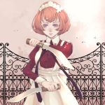 1girl apron arikawa_anri dress dual_wielding gate holding holding_knife juliet_sleeves knife light_smile long_sleeves looking_at_viewer maid maid_headdress orange_hair original pink_background puffy_sleeves red_dress ribbon short_hair solo standing violet_eyes white_apron