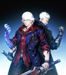 2boys back-to-back belt_buckle black_gloves black_shirt blue_coat blue_eyes bracelet buckle buttons clenched_hand closed_mouth coat devil_may_cry devil_may_cry_4 devil_may_cry_5 fingerless_gloves gloves glowing gradient gradient_background highres holding holding_sword holding_weapon hood hoodie jewelry male_focus mechanical_arm multiple_boys muscle shimetsukage shirt sleeves_rolled_up smile standing sword thigh_strap weapon white_hair zipper zipper_pull_tab