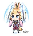 1girl animal_ear_fluff animal_ears bangs bare_shoulders bell black_footwear blonde_hair blue_eyes blush blush_stickers bow chibi dated detached_sleeves eyebrows_visible_through_hair fox_ears full_body glowing hair_ornament hairclip hands_up holding jingle_bell kanya_pyi kemomimi_oukoku_kokuei_housou long_sleeves mikoko_(kemomimi_oukoku_kokuei_housou) parted_lips pink_sleeves pleated_skirt red_bow red_skirt shadow skirt sleeveless solo thigh-highs translation_request twintails virtual_youtuber white_background white_legwear wide_sleeves