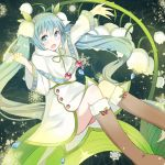 1girl blue_eyes blue_hair blush capelet cherry dress feet_out_of_frame flower food fruit fur-trimmed_boots fur-trimmed_capelet fur_trim hair_flower hair_ornament hands_up hatsune_miku headband knees_together_feet_apart knees_up leaf long_hair outstretched_arm sitting snowbell_(flower) snowflake_print snowflakes solo swon_(joy200892) twintails very_long_hair vocaloid yuki_miku