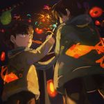 2boys :d black_hair black_pants brothers ekubo_(mob_psycho_100) eye_contact fireworks fish goldfish highres jacket kageyama_ritsu kageyama_shigeo looking_at_another male_focus mob_psycho_100 multiple_boys night night_sky open_mouth outdoors pants siblings sky smile sparkler standing younger