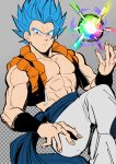 1boy abs arm_at_side belt blue_eyes blue_hair chest chuya_hukuaka dragon_ball dragon_ball_super_broly energy energy_ball fingernails frown gogeta grey_background highres holding looking_away male_focus pants polka_dot polka_dot_background short_hair simple_background spiky_hair stardust_breaker super_saiyan_blue waistcoat