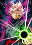 1boy arm_at_side aura blue_eyes chuya_hukuaka dougi dragon_ball dragon_ball_super earrings energy energy_ball evil_grin evil_smile eyebrows_visible_through_hair eyes_visible_through_hair fingernails gokuu_black green_earrings grin highres holding jewelry long_sleeves looking_at_viewer male_focus outstretched_hand parted_lips pink_hair shaded_face short_hair single_earring smile spiky_hair super_saiyan_rose teeth upper_body
