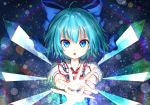 1girl blue_bow blue_eyes blue_hair bow cirno collarbone collared_shirt crystal eyebrows_visible_through_hair hair_bow hands_together highres lens_flare_abuse looking_at_viewer parted_lips puffy_short_sleeves puffy_sleeves red_ribbon ribbon shirt short_hair short_sleeves solo teraguchi touhou upper_body white_shirt wings