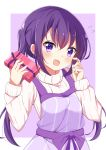 1girl absurdres bangs blush eyebrows_visible_through_hair fingernails flying_sweatdrops gift gochuumon_wa_usagi_desu_ka? hair_between_eyes hands_up head_tilt highres holding holding_gift kousaka_nobaku long_hair looking_at_viewer open_mouth purple_apron purple_background purple_hair ribbed_sweater sidelocks solo sweater tedeza_rize twintails two-tone_background upper_body very_long_hair violet_eyes white_background white_sweater