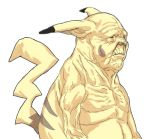 1boy bald closed_mouth creatures_(company) ears_down from_side game_freak gen_1_pokemon highres humanization limited_palette male_focus nintendo nobita nude old old_man pikachu pokemon ribs simple_background solo ugly upper_body what white_background wrinkled_skin wrinkles
