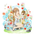 1girl asuna_(sao) autumn_leaves bamboo barefoot basket blue_towel breasts brown_eyes brown_hair bubble cleavage collarbone full_body highres holding holding_basket leaf leaf_print long_hair looking_to_the_side lying maple_leaf maple_leaf_print naked_towel official_art on_side parted_lips print_towel sidelocks sitting solo sword_art_online tied_hair towel transparent_background very_long_hair