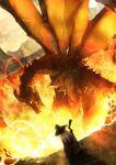 1girl day dragon facing_away fantasy fire from_above hat highres holding long_hair mountainous_horizon namako_(namacotan) original scenery solo staff standing white_hair witch_hat