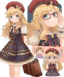 1girl 2girls :3 aikawa_chinatsu blonde_hair blue_eyes blush bow breasts brown_hair commentary_request dress eyebrows_visible_through_hair glasses hair_bow hair_ornament hand_on_eyewear hat highres holding holding_backpack idolmaster idolmaster_cinderella_girls long_hair multiple_girls multiple_views ootsuki_yui puffy_short_sleeves puffy_sleeves red-framed_eyewear red_hat short_hair short_sleeves small_breasts smile solo sweater translation_request wotsumiki_(sakura-yuzu) wrist_cuffs