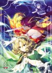 3girls artist_name bare_shoulders blonde_hair blue_background blue_cape blue_eyes blue_hair cape dated drill_hair elbow_gloves fighting_stance fire flame glint gloves green_cape green_eyes hair_ornament hairband holding holding_sword holding_weapon hououji_fuu long_hair looking_to_the_side magic magic_knight_rayearth medium_hair multiple_girls outdoors red_eyes ryuuzaki_umi scarf shidou_hikaru short_hair sukja sword water weapon white_gloves wing_hair_ornament